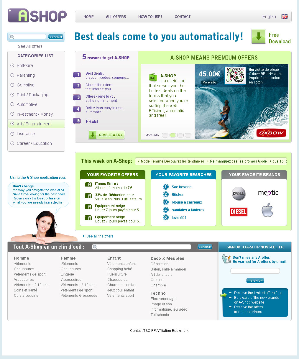 Site shopping homepage